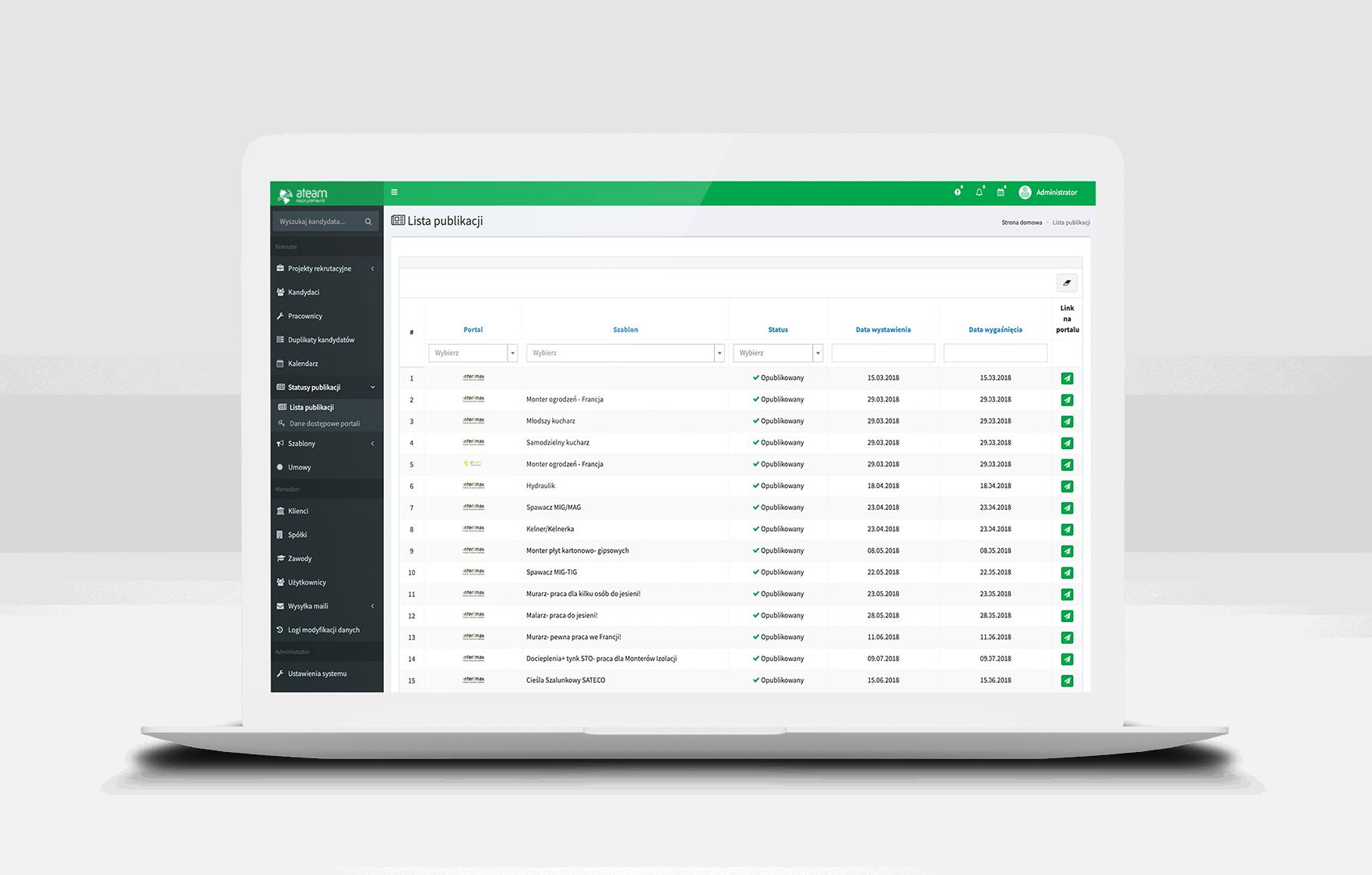 System do zarządzania rekrutacją z modułem zdalnych spotkań rekrutacyjnych.